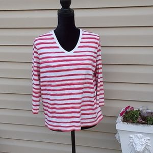 Kim Rogers petite XL pink/orange stripped blouse
